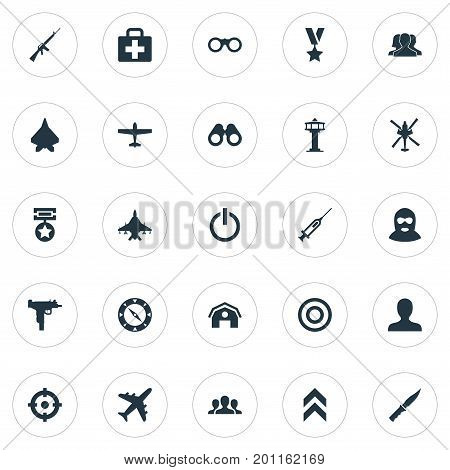 Elements Cold Weapon, Telescope, Medical Kit And Other Synonyms Team, Helicopter And Badge.  Vector Illustration Set Of Simple Battle Icons.