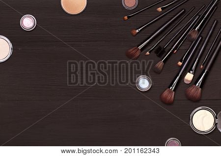 Cosmetics. Post blog social media. View from above with copy space. Banner template layout mockup top view on workplace. Set of cosmetics on wooden table top view. For make-up courses, stylists