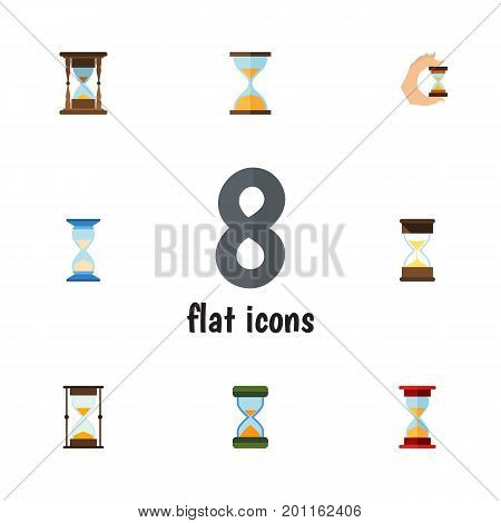 Flat Icon Sandglass Set Of Loading, Sand Timer, Minute Measuring Vector Objects