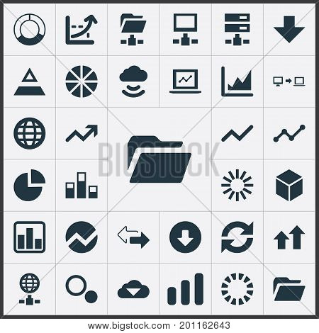 Elements Data Sending, Coordinate Axis, Earth And Other Synonyms Statistics, Download And Growth.  Vector Illustration Set Of Simple Information Icons.