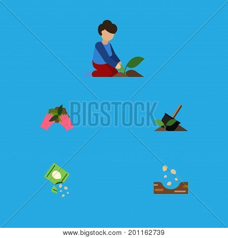 Flat Icon Sow Set Of Plant, Seed, Soil And Other Vector Objects