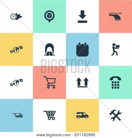 Elements Global Trade, Up Side, Renovation And Other Synonyms Man, Van And Helicopter.  Vector Illustration Set Of Simple Systematization Icons.