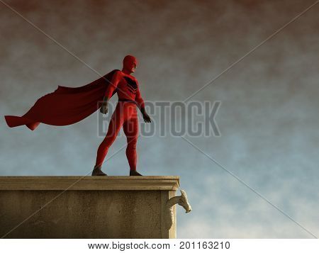 3d illustration of a superhero with cloak