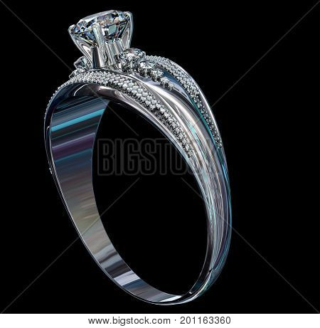 Silver band for engagement with gem. Top view of diamond facetes luxury jewellery bijouterie ring from white gold or platinum with gemstone. 3D rendering on black background. Family values idea.