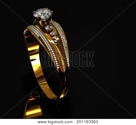 Gold ring with diamond gem jewelry. Luxury jewellery bijouterie with crystal gemstone for people in love. Frontal view and reflection on black background. 3D rendering . Vintage bracelet.