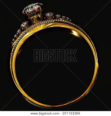 Engagement gold ring with gem. Luxury jewellery bijouterie band, with gemstone for people in love. Frontal view on black background. 3D rendering. Bright sparks of sparkling stones.
