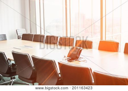Empty conference room with telephone