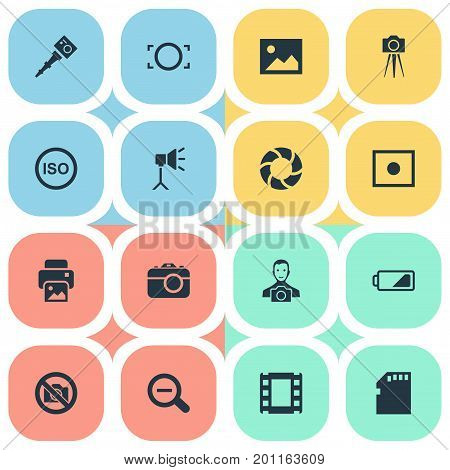 Elements Camcorder, Energy, Rustication And Other Synonyms Enrollment, Man And Cameraperson.  Vector Illustration Set Of Simple Photograph Icons.