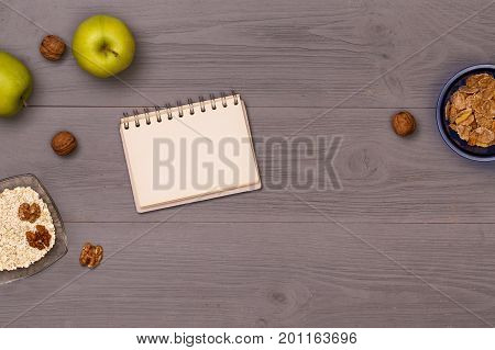Top view on table food for cooking. Healthy food. Dietetic foods. Delicious breakfast. Post blog social media. View from above with copy space. Banner template layout mockup top view