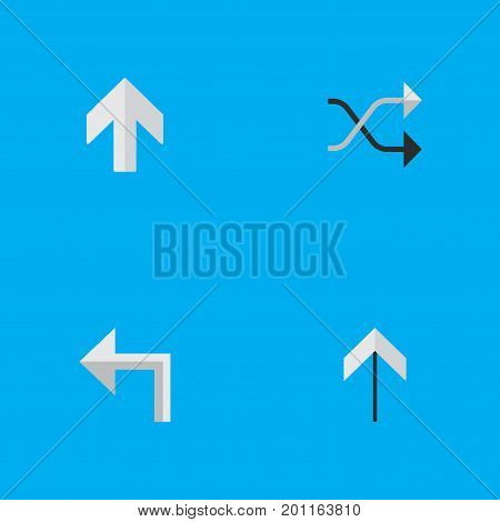 Elements Up, Upwards, Chaotically And Other Synonyms Shuffle, Up And Arrow.  Vector Illustration Set Of Simple Indicator Icons.