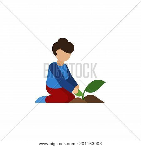 Florist Vector Element Can Be Used For Woman, Florist Design Concept.  Isolated Woman Flat Icon.