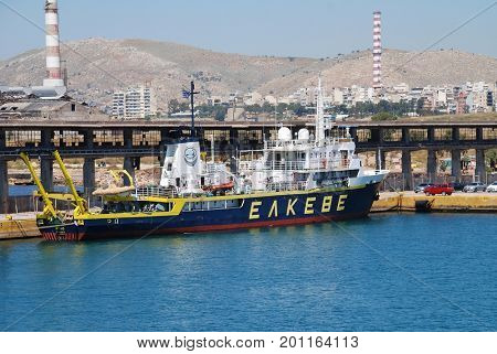 ATHENS, GREECE - APRIL 26, 2017: Aegaeo, maritime research vessel of the Institute of Oceanography (part of the Hellenic Centre for Maritime Research), moored at Piraeus port. It was built in 1985.
