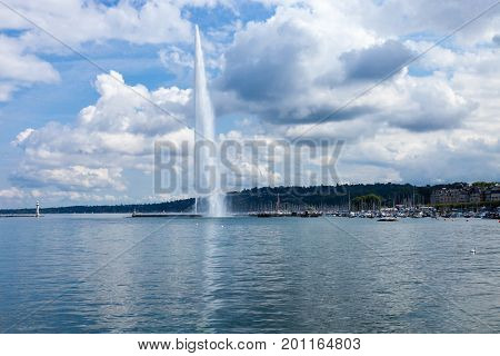 Fountain Jet D'Eau the symbol of the city of Geneva in Switzerland