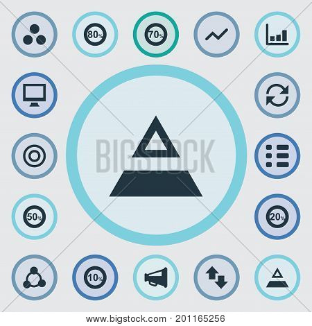 Elements Triangle, Segmentation, Price And Other Synonyms Up, Triangle And Cycle.  Vector Illustration Set Of Simple Statistic Icons.