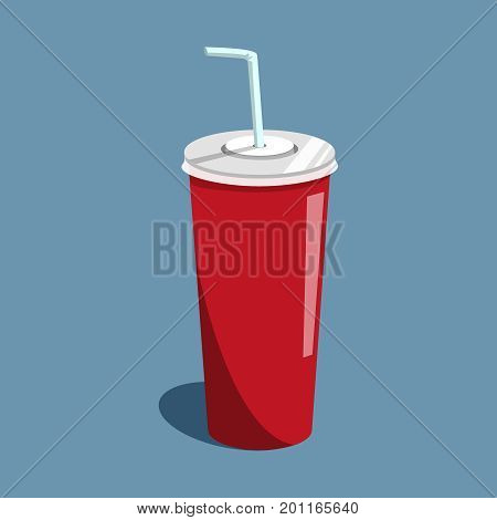 Vector illustration drink cola on the blue backgroud. Soda drink in red paper cup with white tubule.