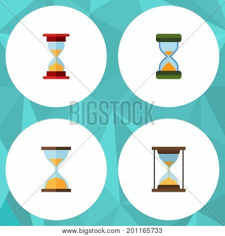Flat Icon Sandglass Set Of Hourglass, Loading, Instrument And Other Vector Objects