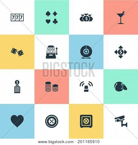 Elements Addiction, Gambling Cube, Vinyl Music And Other Synonyms Bet, Slot And Luck.  Vector Illustration Set Of Simple Casino Icons.