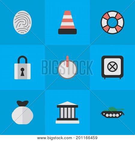 Elements Lifesaver, Isolated, Military And Other Synonyms Bag, Jail And Tank.  Vector Illustration Set Of Simple Crime Icons.
