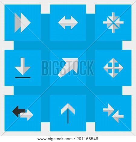 Elements Widen, Export, Up And Other Synonyms Widen, Southwestward And Forward.  Vector Illustration Set Of Simple Indicator Icons.