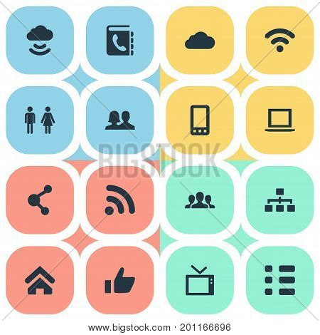 Elements Cellphone, Telly, Partnership And Other Synonyms Vote, Computer And Television.  Vector Illustration Set Of Simple Communication Icons.