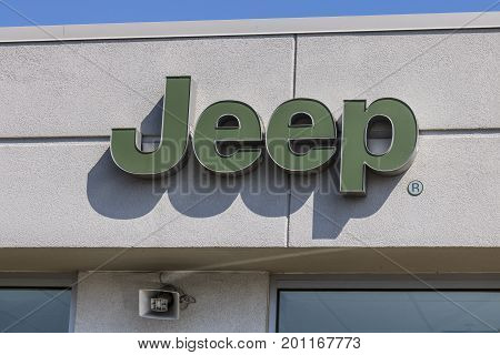 Kokomo - Circa August 2017: Jeep Automobile Dealership. Jeep is a subsidiary of Fiat Chrysler Automobiles. FCA is the parent company of Dodge Chrysler and Ram Trucks II
