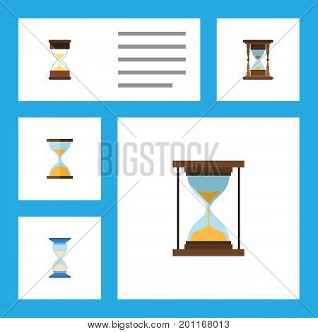 Flat Icon Hourglass Set Of Clock, Sand Timer, Minute Measuring Vector Objects