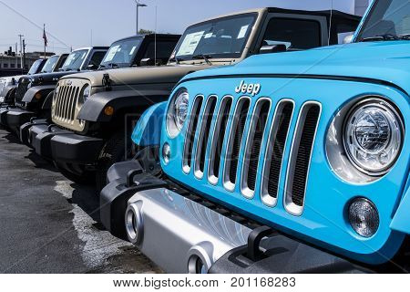 Kokomo - Circa August 2017: Jeep Automobile Dealership. Jeep is a subsidiary of Fiat Chrysler Automobiles. FCA is the parent company of Dodge Chrysler and Ram Trucks IV