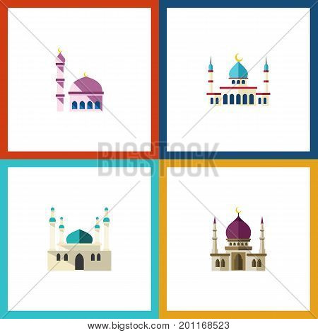 Flat Icon Minaret Set Of Traditional, Building, Architecture And Other Vector Objects