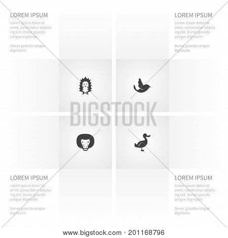 Icon Nature Set Of Chimpanzee, Swallow, Prickly And Other Vector Objects