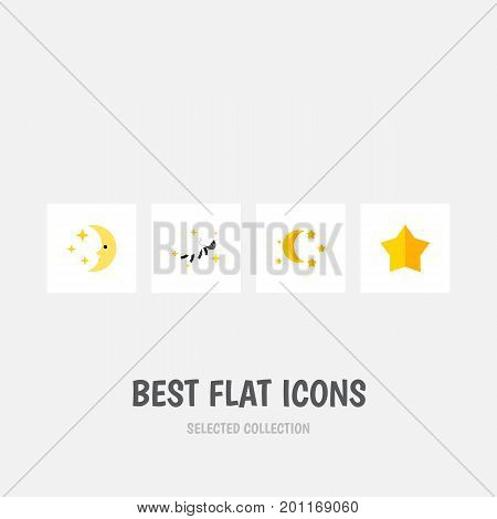 Flat Icon Midnight Set Of Bedtime, Nighttime, Starlet And Other Vector Objects