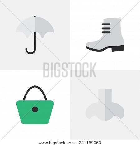 Elements Parasol, Boot, Woman Bag And Other Synonyms Rain, Woman And Handbag.  Vector Illustration Set Of Simple Equipment Icons.