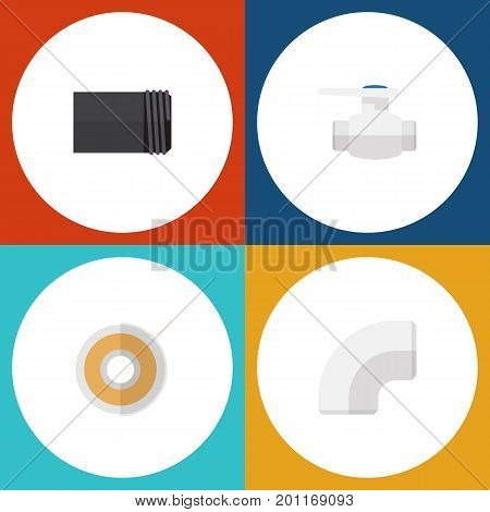 Flat Icon Industry Set Of Flange, Roll, Tube And Other Vector Objects