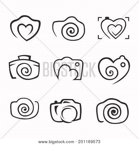 Photos Logo. Camera logo vector set. Trendy Hipster camera. photo icon