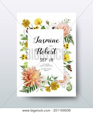Wedding Invitation invite card Design: pink Rose Dahlia peach Anemone calendula yellow flower fern herbal leaf frame border. Vector anniversary floral Botanical elegant garden flowers poster banner