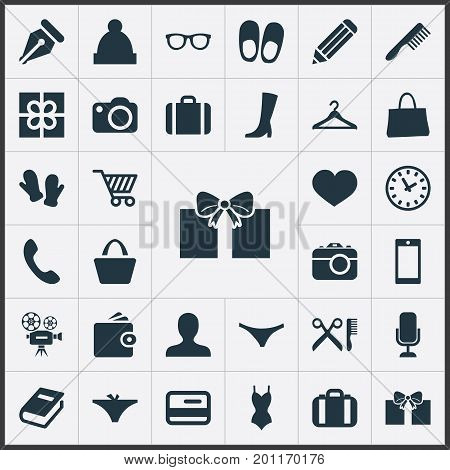 Elements Suitcase, Swimwear, Hairbrush And Other Synonyms Underpants, Travel And Hook.  Vector Illustration Set Of Simple Equipment Icons.