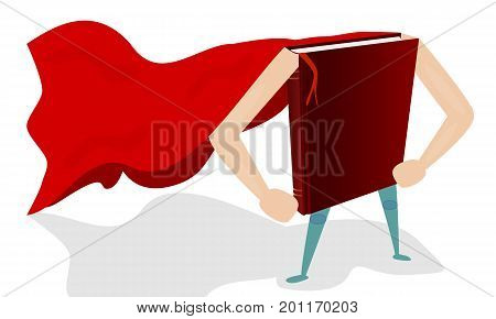 Book super hero, vector art illustration of the power of knowledge.