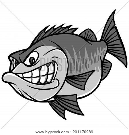 A vector illustration of a Bass Fishing Mascot.