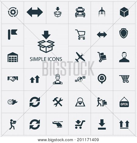 Elements Wheelbarrow, Employee, Transportation And Other Synonyms Marker, Repair And Warehouse.  Vector Illustration Set Of Simple Logistics Icons.