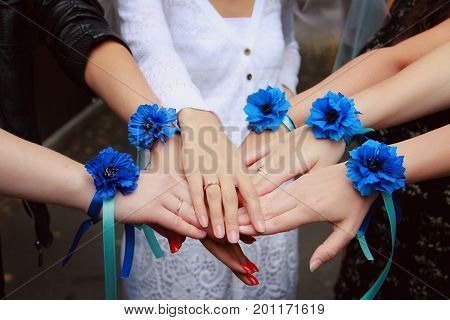 Hen-party before the wedding. Six female hands with blue flower boutonniere bracelets on wrist. Bride and her maids put their hands together.