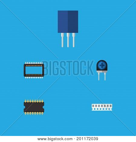 Flat Icon Appliance Set Of Mainframe, Transducer, Memory And Other Vector Objects