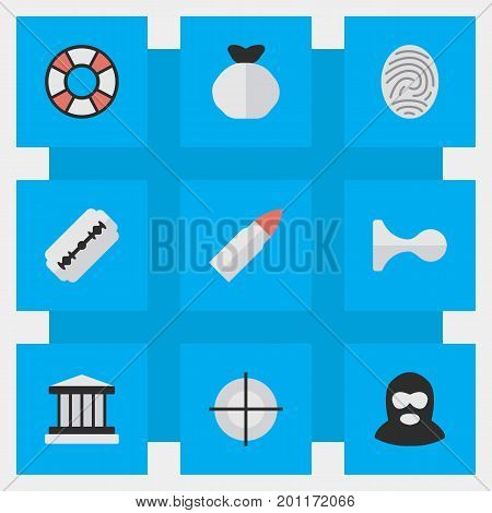 Elements Shot, Sniper, Criminal And Other Synonyms Court, Sniper And Target.  Vector Illustration Set Of Simple Criminal Icons.