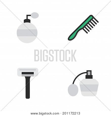 Elements Perfume, Shaver, Hairbrush And Other Synonyms Bottle, Razor And Shaver.  Vector Illustration Set Of Simple Hairdresser Icons.