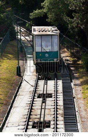 Prague, Czech Republic - June 17: Tourists Traveling With Petrin Funicular Railway To The Petrin Loo