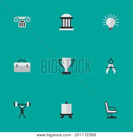 Elements Armchair, Column, Briefcase And Other Synonyms Seat, Briefcase And Measurement.  Vector Illustration Set Of Simple Education Icons.