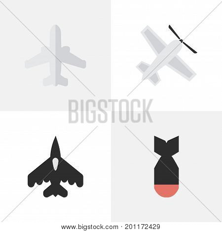 Elements Airliner, Rocket, Flying Vehicle And Other Synonyms Aircraft, Aviation And Rocket.  Vector Illustration Set Of Simple Aircraft Icons.