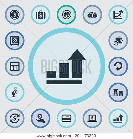 Elements Increase Graph, Interest, Saving And Other Synonyms Finance, Success And Full.  Vector Illustration Set Of Simple Money Icons.