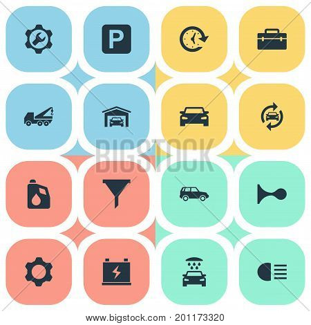 Elements Toolbox, Filter, Siren And Other Synonyms Alert, Garage And Filter.  Vector Illustration Set Of Simple Automobile Icons.