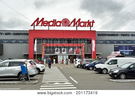 HERSTAL, BELGIUM - AUGUST 17, 2017: Entry of a Media Markt store. Mediamarkt is a German chain of stores selling consumer electronics with numerous branches.