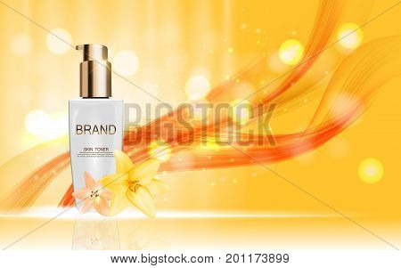 Design Cosmetics Skin Toner Product Bottle with Flowers Golden Liy Template for Ads, Announcement Sale, Promotion New Product or Magazine Background. 3D Realistic Vector Iillustration. EPS10