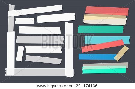Colorful and white different size adhesive, sticky, scotch tape, paper pieces
